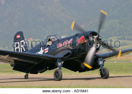 Zeltweg 2005 AirPower 05 airshow Austria Vought Corsair F4U Red Bull - Stock Image
