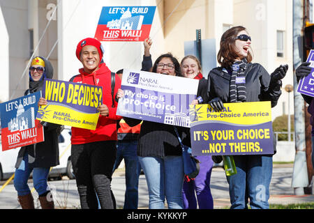 Raleigh, North Carolina. 13th January, 2018. Pro-Choice demonstration during a Pro-Life rally. - Stock Image