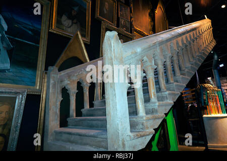 The Marble Staircase made by the special effects department, for use in the Harry Potter Films. Warner Brothers Studio Tour, Leavesdon. - Stock Image