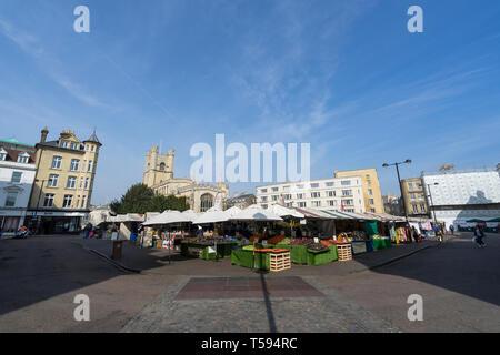 Market stalls on Market Hill Cambridge England 2019 - Stock Image