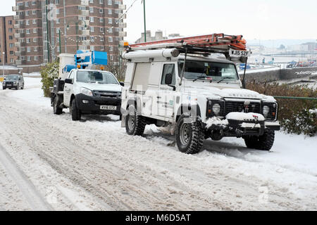 Weston super mare. UK. 2nd March, 2018.A  four wheel drive vehicle belonging to Western power disribution, parked - Stock Image