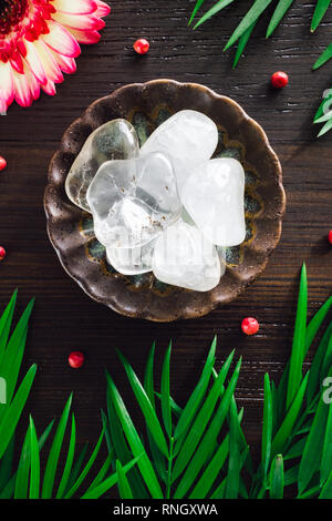 Polished Quartz Crystals with Mixed Flora on Dark Wood - Stock Image