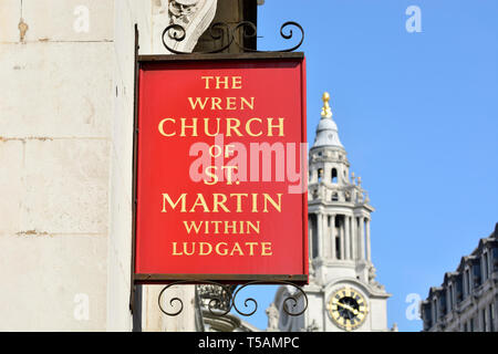 London, England, UK. The Wren Church of St Martin within Ludgate (Fleet Street) sign with St Paul's Cathedral in the background. - Stock Image