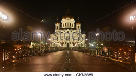 The main temple of the entire Orthodox world - 'The Cathedral of Christ the Savior'. Panorama of night city. - Stock Image