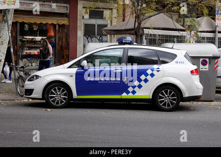 A Police Car Of The Guardia Urbana de Barcelona A Municipal Police Force In Barcelona Spain - Stock Image