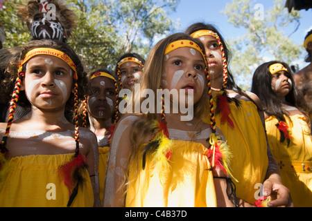 Australia, Queensland, Laura. Young indigenous dancers at the Laura Aboriginal Dance Festival. - Stock Image