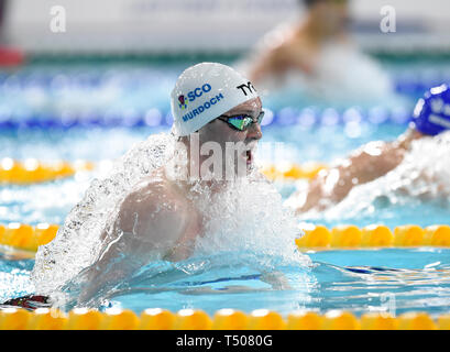 Ross Murdoch competing in the Men's 200m Breaststroke final during day four of the 2019 British Swimming Championships at Tollcross International Swimming Centre, Glasgow. - Stock Image