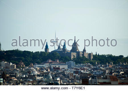 Views over Barcelona through a window on a rooftop cafe restaurant  in Barcelona in Catalunya in Spain in Europe - Stock Image