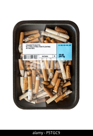 A  graphic representation of the damage done by the pollution of cigarettes through human activity - Stock Image