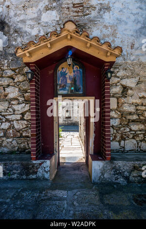 Entrance to the Monastery of Evangelistria, Skopelos, Northern Sporades Greece. - Stock Image