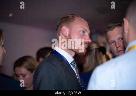 Stockholm, Sweden, September 9, 2018. Swedish General Election 2018.  Election Night Watch Party for Sweden Democrats (SD) in central Stockholm, Sweden. Aron Emilsson (SD) Credit: Barbro Bergfeldt/Alamy Live News - Stock Image