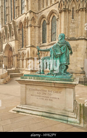 Statue of Constantine the Great, Roman Emperor, outside York Minster - Stock Image