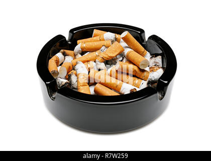 Ashtray Full of Cigarette Butts, Cut Out - Stock Image