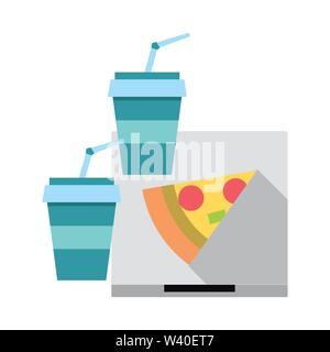 Pizza italian fast food with soda - Stock Image