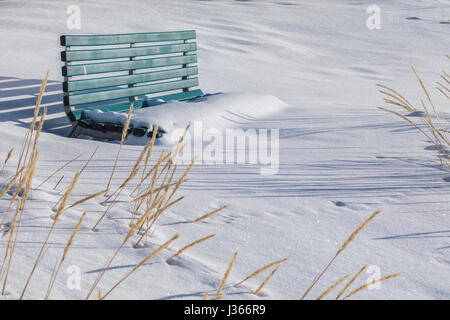 a bench covered with snow - Stock Image