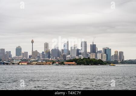 Sydney skyline seen from Sydney Harbour. - Stock Image