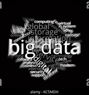 Big Data word cloud utilizing computer and technology based themes and ideas - Stock Image