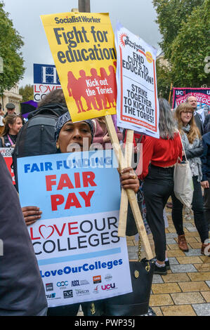 London, UK. 17th October 2018. Staff and students from Further Education Colleges across the country meet in Waterloo Place to march to a rally in Parliament Square calling for the vital work that FE Colleges do to be recognised and properly funded. The #Loveourcolleges action called for funding to allow the colleges to do their job properly and to pay teachers on comparable rates to their colleagues in schools and Higher Education. Credit: Peter Marshall/Alamy Live News - Stock Image