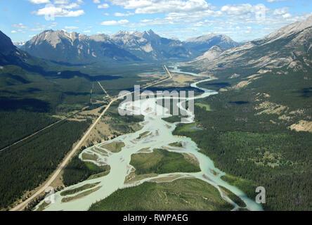 aerial, Athabasca River Jasper, Alberta - Stock Image