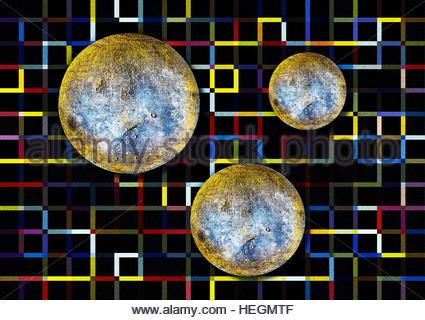 Vintage Moon Lunar satellite astronomy puzzle background retro collage - Stock Image