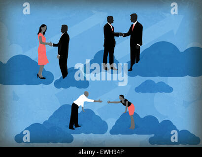 Illustrative image of business people making global partners - Stock Image