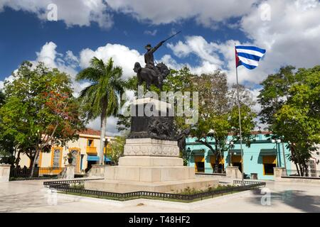 Ignacio Agramonte Public Park in Camaguey Cuba Town Square with Cuban Flag and Independence War Soldier Statue - Stock Image