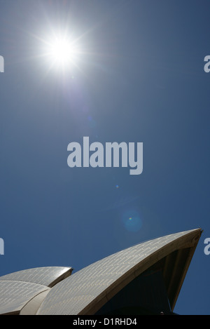SYDNEY, Australia - SYDNEY, Australia - The roof of the Sydney Opera House against a clear blue sky and with the - Stock Image