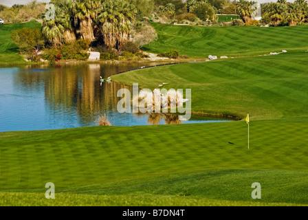 Desert Willow, Public, Golf Course, Resort ,Palm Desert, CA, near Palm Springs, Green Fairway ,Water, Golf USA, - Stock Image
