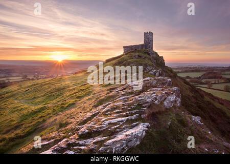 Sunrise at Brentor Church Dartmoor Devon Uk - Stock Image