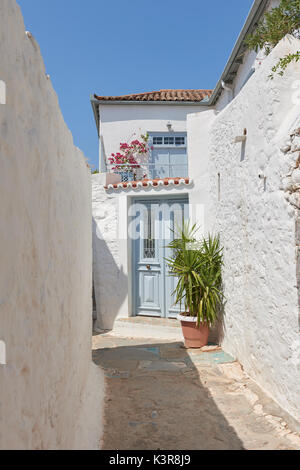Beautiful streets of Hydra island - Stock Image