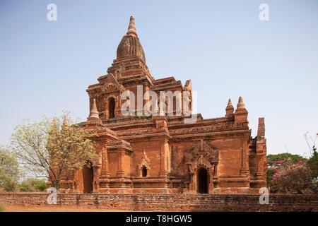 Ywa haung gyi temple and stupa, Old Bagan village area, Mandalay region, Myanmar, Asia - Stock Image