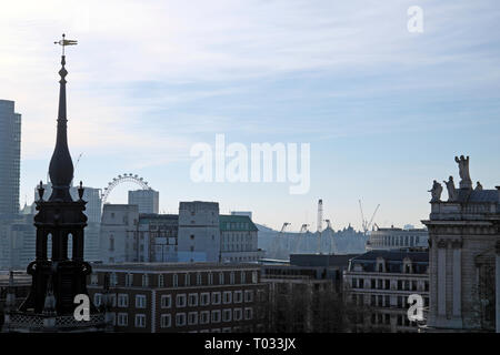 Cityscape from One New Change rooftop terrace looking towards the London Eye  in the City of London UK  KATHY DEWITT - Stock Image