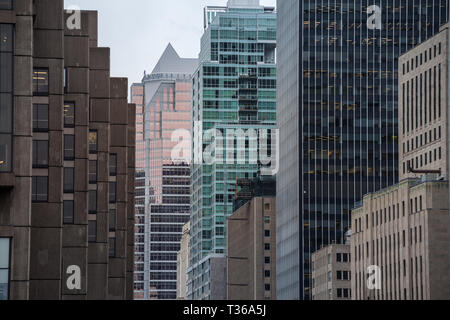 Business skyscrapers in the downtown of Montreal, Canada, taken in the center business district of the main city of Quebec, a symbol of the Canadian e - Stock Image