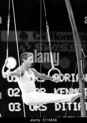 Oct 29, 1978; Strasbourg, France; The Soviet NIKOLAI ANDRIANOV, gold medal at the Olympics in Montreal. Now the worl champion after competing in Strasbourg. - Stock Image