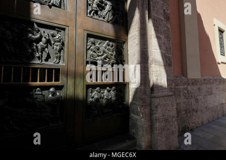 Ornamental details on exterior doors of The Basilica de Virgen de Los Desamparados, North Ciutat Vella district, Valencia, Spain - Stock Image