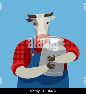 Funny cow holding a can of fresh milk. Dairy farm, cartoon vector illustration - Stock Image