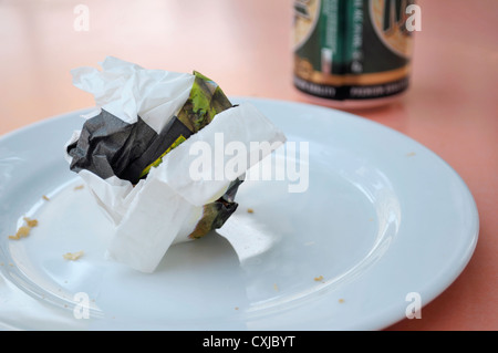 remains on plate - Stock Image