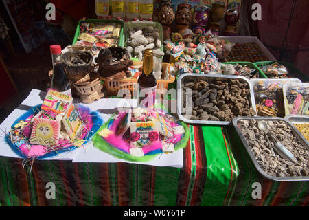 Offerings for sale at the La Hechiceria Witches Market in La Paz, Bolivia - Stock Image