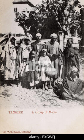 Tangier, Morocco - A Group of Moors.     Date: circa 1905 - Stock Image