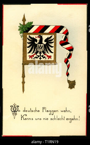 Germany, North Rhine-Westphalia, Münster, WW I, propaganda, patriotic postcard with the text ' Wo deutsche Flaggen wehn, kanns uns nie schlecht ergehn ! (Where are German flags, it could be never bad !), and a German flag with the Imperial Eagle, postcard sent 20. 10. 1916. , Additional-Rights-Clearance-Info-Not-Available - Stock Image