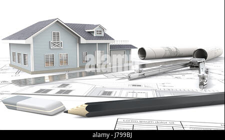 Front view of Blue House with Light from windows. , drawings and sketches. Rolls, Ruler, Pencil, Eraser and Divider - Stock Image