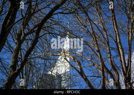 The top of The Blade office block viewed through trees in Reading, Berkshire. - Stock Image