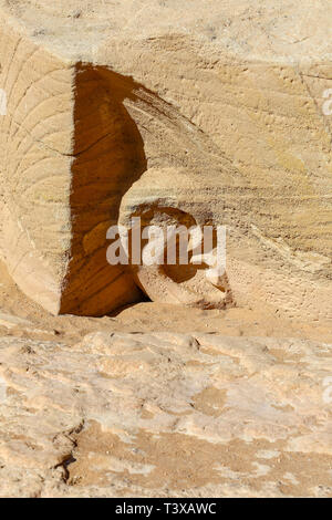 Detail of an ear carved into the rock at the Abu Simbel Great Temple at Abu Simbel, a village in Nubia, southern Egypt, North Africa - Stock Image