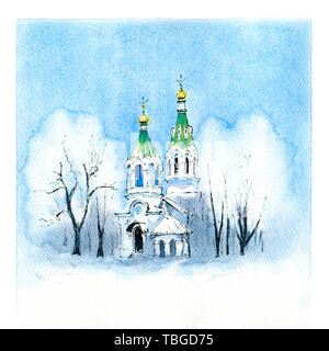 Winter typical orthodox church - Stock Image
