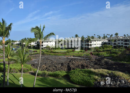 Beautifully landscaped ground of tropical resort in Hawaii - Stock Image