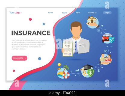 Insurance Services Landing Page - Stock Image