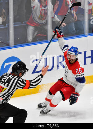 Bratislava, Slovakia. 19th May, 2019. Michal Repik (CZE) celebrates his goal in the match between Austria and Czech Republic within the 2019 IIHF World Championship in Bratislava, Slovakia, on May 19, 2019. Credit: Vit Simanek/CTK Photo/Alamy Live News - Stock Image