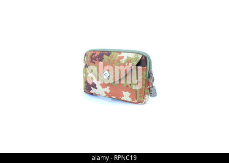 pocket military bag on isolated - Stock Image