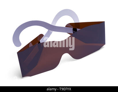 Folded Pair of Eye Exam Sunglasses Isolated on White. - Stock Image