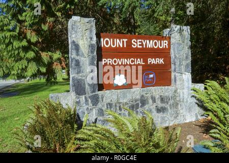 Entrance Table to Mount Seymour Provincial Park in North Shore Mountains above City of Vancouver British Columbia Canada - Stock Image